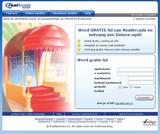 RealArcade.eu registration page